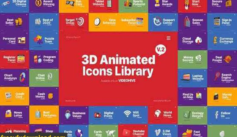 Videohive-25620968 3D Animated Icons Library