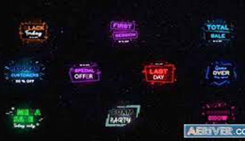 Neon Sale Titles After Effects Videohive 32079757