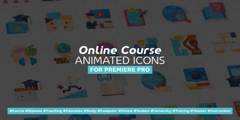Online Course Modern Flat Animated Icons-Mogrt videohive 31064770