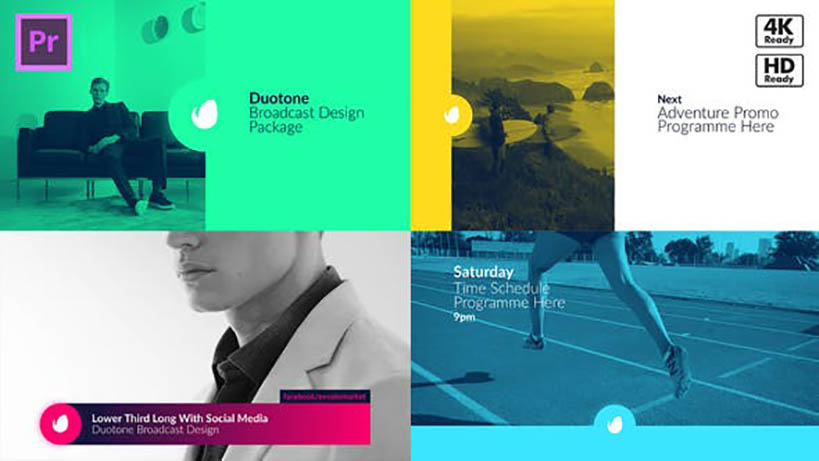 Duotone Broadcast Package Essential Graphics Mogrts