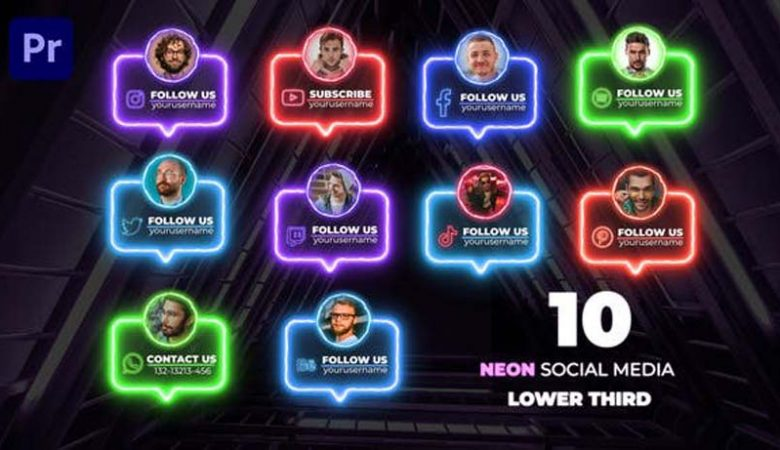 Neon Social Lower Thirds Videohive 33174620